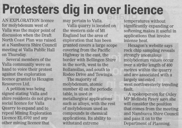 Coffs Advocate report of Valla Hall meeting.
